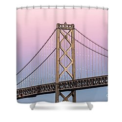 Shower Curtain featuring the photograph Bay Bridge Lights At Sunset by Kate Brown