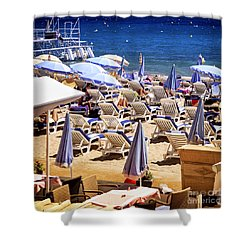 Beach In Cannes Shower Curtain by Elena Elisseeva