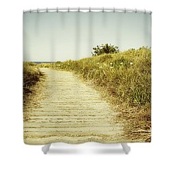 Beach Trail Shower Curtain by Les Cunliffe