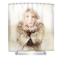 Beautiful Young Woman Blowing Snow In Winter Style Shower Curtain