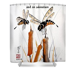 Beeing Present Shower Curtain by Bill Searle