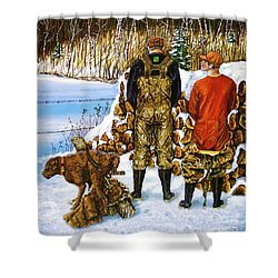 Behind The Wood Pile    Shower Curtain by Linda Simon