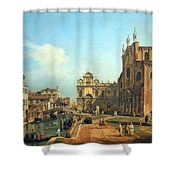 Bellotto's The Campo Di Ss. Giovanni E Paolo In Venice Shower Curtain by Cora Wandel