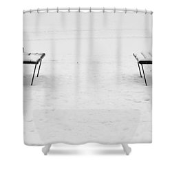 Benches On A Dock Shower Curtain by Jouko Lehto