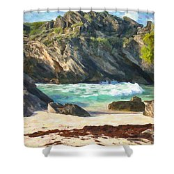 Bermuda Hidden Beach Shower Curtain by Verena Matthew