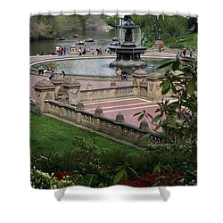 Bethesda Fountain - Central Park Nyc Shower Curtain by Christiane Schulze Art And Photography