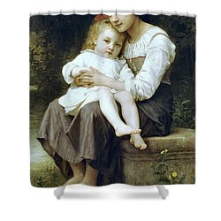 Big Sister Shower Curtain by William Bouguereau