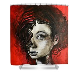 Black Portrait 23 Shower Curtain