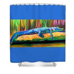 Blue Alligator Shower Curtain