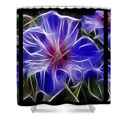 Blue Hibiscus Fractal Shower Curtain by Peter Piatt