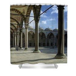 Blue Mosque Courtyard Shower Curtain by Joan Carroll