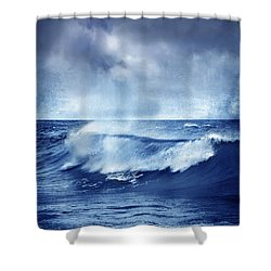Blue Wave Shower Curtain by Guido Montanes Castillo