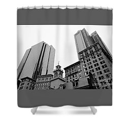 Boston Cityscape Black And White Shower Curtain
