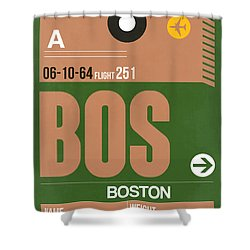 Boston Luggage Poster 1 Shower Curtain by Naxart Studio