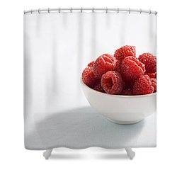 Bowl Of Raspberries Shower Curtain by Greg Huszar Photography