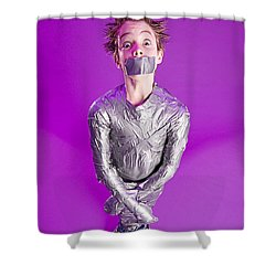 Boy Bound By Duct Tape Shower Curtain by Ron Nickel