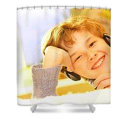Boy Listen To Music Shower Curtain by Michal Bednarek