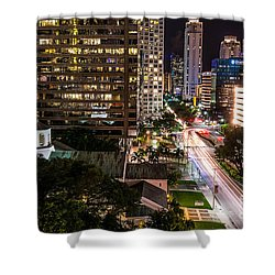 Brickell Ave Downtown Miami  Shower Curtain by Michael Moriarty