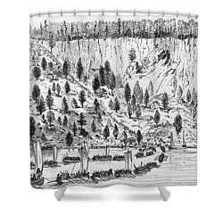 British Landing, 1776 Shower Curtain by Granger
