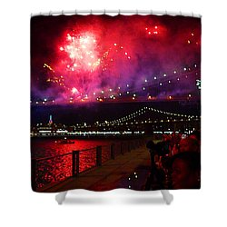 Brooklyn Bridge Fireworks Shower Curtain