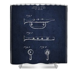 Bugle Call Instrument Patent Drawing From 1939 - Navy Blue Shower Curtain by Aged Pixel