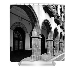 Buildings In Ponta Delgada Shower Curtain by Gaspar Avila
