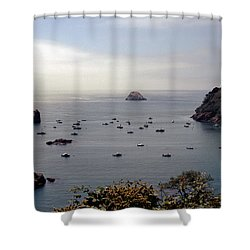 Busy Harbor Shower Curtain by Sharon Elliott