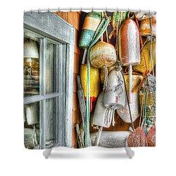 Camp Buoys Shower Curtain by Richard Bean