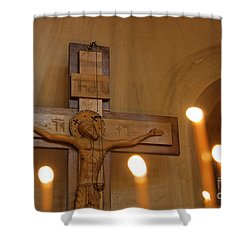 Carving Of Jesus Christ On The Cross Inside Tsminda Sameba Cathedral Tbilisi Shower Curtain by Robert Preston