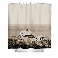 Casino At The Top Of Mt Beacon In Sepia Tone Shower Curtain