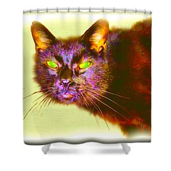 Shower Curtain featuring the digital art Cat by Daniel Janda