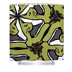 Shower Curtain featuring the digital art Cat / Shoe / Rose by Elizabeth McTaggart