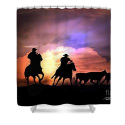 Cattle Drive Shower Curtain by Stephanie Laird