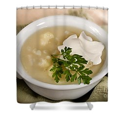 Cauliflower Soup Shower Curtain by Iris Richardson