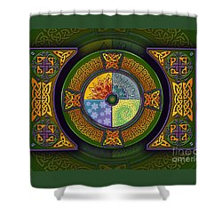 Shower Curtain featuring the mixed media Celtic Elements by Kristen Fox