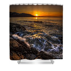 Chamoso Point In Ares Estuary Galicia Spain Shower Curtain