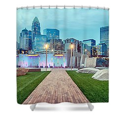 Charlotte City Skyline In The Evening Shower Curtain