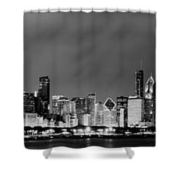 Chicago Skyline At Night In Black And White Shower Curtain by Sebastian Musial