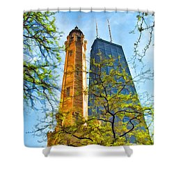 Chicago Water And Hancock Towers Shower Curtain by Christopher Arndt