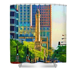 Chicago Water Tower Beacon Shower Curtain by Christopher Arndt