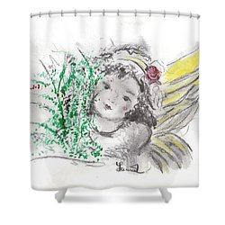 Christmas Angel Shower Curtain by Laurie L