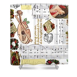 Shower Curtain featuring the digital art Christmas Collage by Sandy McIntire