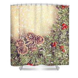 Christmas Garland Shower Curtain by Amanda Elwell