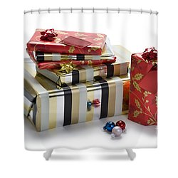 Shower Curtain featuring the photograph Christmas Gifts by Lee Avison