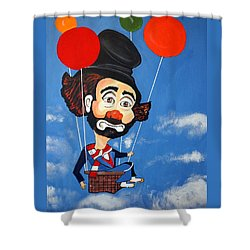 Shower Curtain featuring the painting Clown Up Up And Away by Nora Shepley