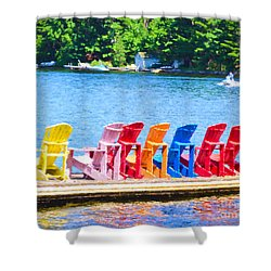 Colorful Chairs Shower Curtain by Les Palenik