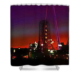 Coney Island Amusement Park And Parachute Jump Shower Curtain