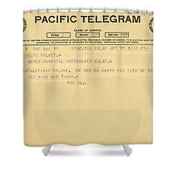 Congratulatory Telegram Shower Curtain by Underwood Archives