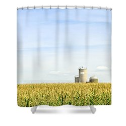 Corn Field With Silos Shower Curtain by Elena Elisseeva
