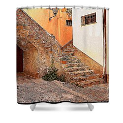 Courtyard Of Old House In The Ancient Village Of Cefalu Shower Curtain by Stefano Senise